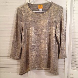 Ruby Rd. Petite S Gold Metallic Stretchy Knit Top